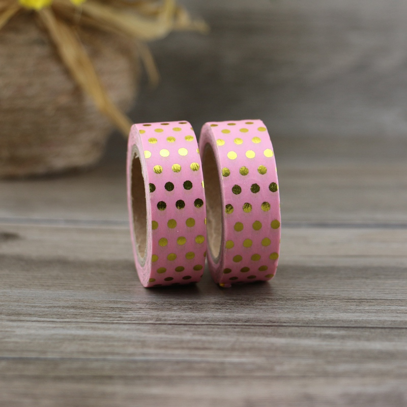 10M Decorative Gold Foil Tape with Pink Dots  4