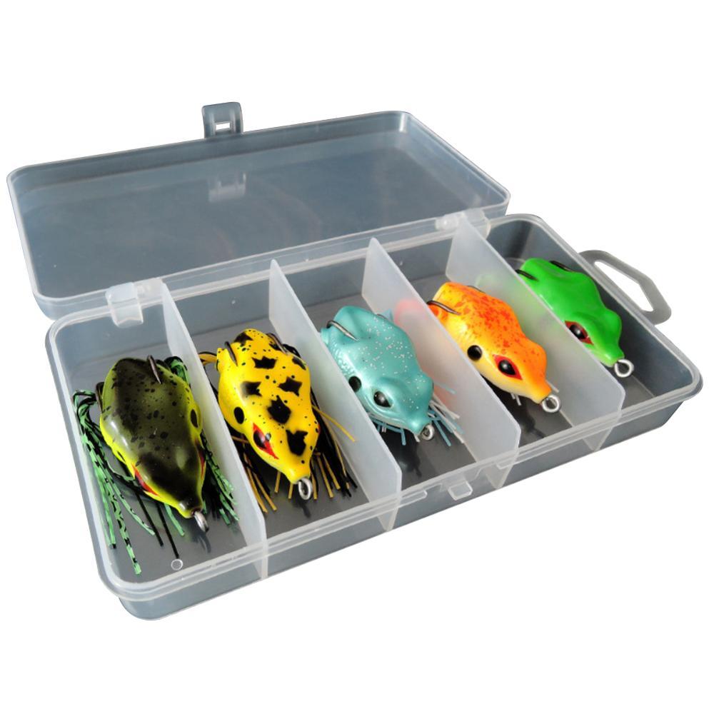 5PCS//Set Topwater Soft Frog Rubber Fishing Lure Crankbait Bait Tackle Bass Hooks