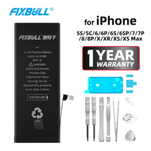 FIXBULL Original Battery For iPhone 5S 5C 6S 6 7 8 Plus X Xr Xs Max 6Plus 7Plus 6SPlus 8Plus Replacement Bateria For iPhone6s yinuoda russian football team denis cheryshev phone case diy picture soft tpu cover for iphone x xr xs max 7 8 7plus 6 6s 5s 5se