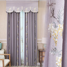 American Pastoral Chinese Style Embroidered Curtains for Living Room Cotton and Linen Fabric Shade Shading Floor Bedroom Curtain modern simple cotton linen stereo embroidery curtain dolly curtain screen american country curtains for living room and bedroom