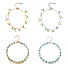 4 Pcs/ Set New Beach Round Beads Stone Anklet Bracelet for Women Bohemian Layered Adjustable Foot Chain Anklets ring front layered chain anklet