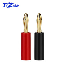цена на Banana Connector Male Audio Plugs Gold Plated Banana Plug 180 90 Degree Connectors For Musical Wire Pin Speaker Cable Black Red