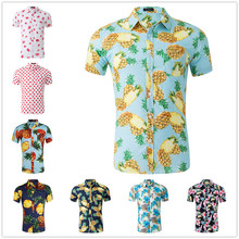 цена на Pineapple Print Mens Shirt Short Sleeves camisas hombre Turn Down Collar Causal Vacation camisa masculina Hawaiian Shirt Mans