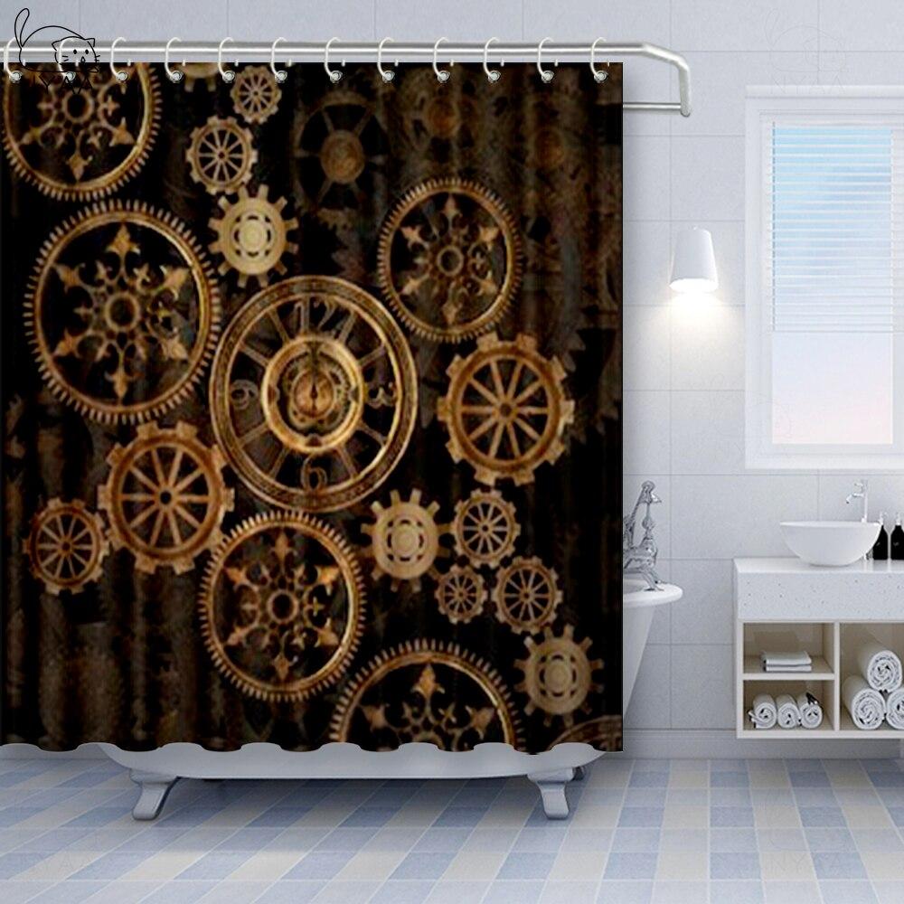 nyaa industrial decor shower curtain steampunk antique composition brass fastening round gear bathroom decor set
