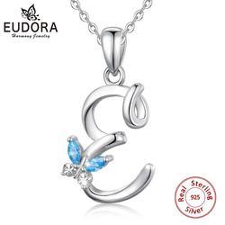 Eudora-collier pendentif en Zircon pour femmes et hommes, collier de luxe, 8 lettres, chaîne en Zircon, ras du cou, cristal CZ, E Alphabet, bijoux, cadeau