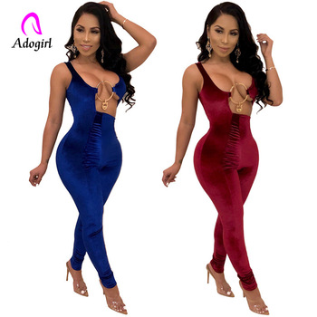 Burgundy Irregular Hollow Out Velvet Jumpsuit Solid Blue V Neck Sleeveless Romper 2020 Spring Women Sexy Night Club Party Outfit chic v neck sleeveless hollow out sequined club dress for women
