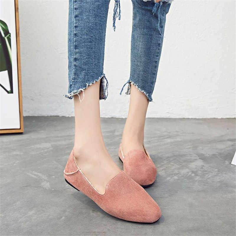 Yeni bağcıksız ayakkabı kadınlar kış sıcak için pamuklu ayakkabılar kadın Flats loafer'lar kadın konfor basit dikiş bale daireler ile kürk