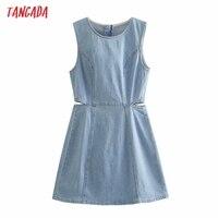 Tangada Women Solid Denim Blue Cut-out Dress Sleeveless 2021 Korean Fashion Lady Elegant Dresses Vestido 6P51 1