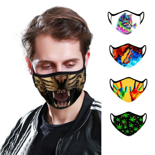 Printed Adjustable Earhook Protective Face Mask Kpop PM2.5 Anti Haze Anti-Splash Dust Filter Cotton Mouth Mask for Women Men