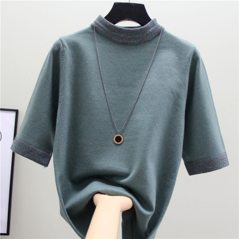 Women's Sweater 2020 New Mid-sleeved Sweater Pullover Sweater Bottoming Shirt Loose Half High Collar Top