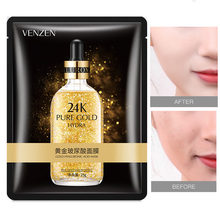 10pcs VENZEN 24k gold hyaluronic acid face masks Anti-Aging Moisturizing Oil-control facial mask sik care cosmetics