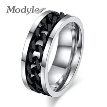 Modyle 2020 New Fashion Spinner Black Chain Ring for Men Punk Vintage Stainless Steel Finger Ring Jewelry Wholesale