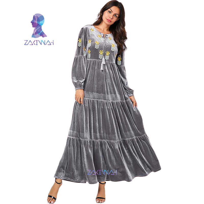 9108 plus tamanho vetement femme 2019 prata-cinza bordado ouro veludo vestido muçulmano dubai caftan kaftan islam vestuário para mulher