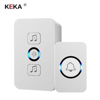 цена на KEKA wireless waterproof doorbell 1 button 1 receiver 300M remote control smart home hotel wireless door ring US plug