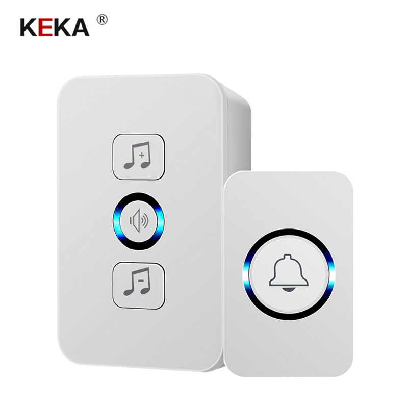 KEKA wireless waterproof <font><b>doorbell</b></font> 1 button 1 receiver 300M <font><b>remote</b></font> control smart home hotel wireless door ring US plug image