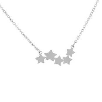 Stainless New minimalism small star pendant necklaces for women ladies gold silver chain choker necklace pentagram jewelry