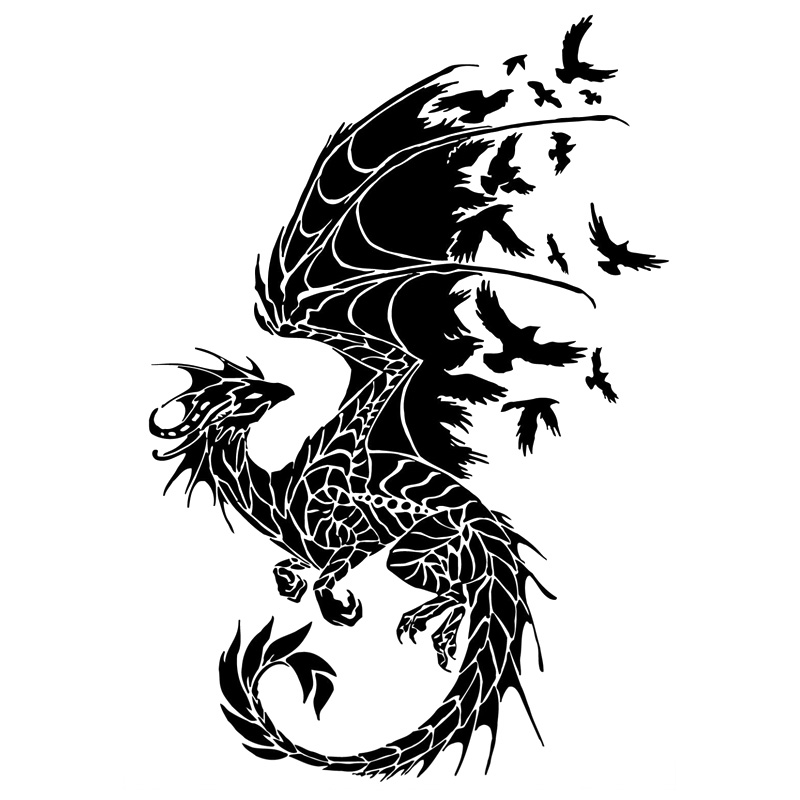 11 7cm 17 2cm Dragon Birds Creative Car Sticker Motorcycle Decal Black in Car Stickers from Automobiles Motorcycles