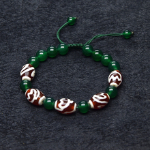 Green Beads Red&white Tibet Louts Fengshui DZI String woven bracelet women amulet jewelry adjustable bracelet Free Shipping