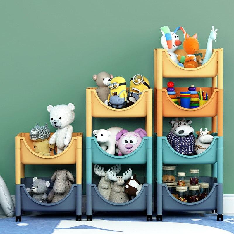 Floor Multi-Layer Storage Basket Toy Storage Shelf Household Organization Movable Containers Kitchen Organizer Fruit Baskets