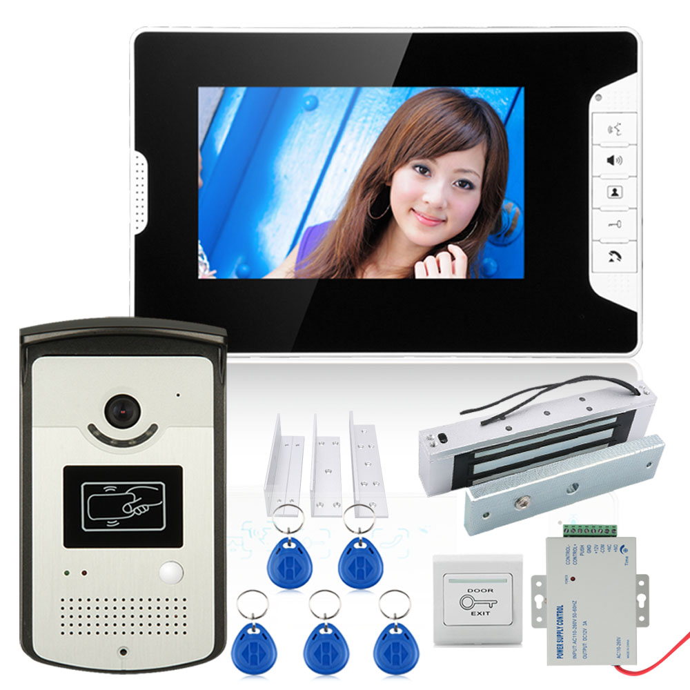 7inch Color Video Door Phone Intercom System With 1 Monitor 1 RFID HD Doorbell 1000TVL Camera +Electric Magnetic Door Lock 180KG
