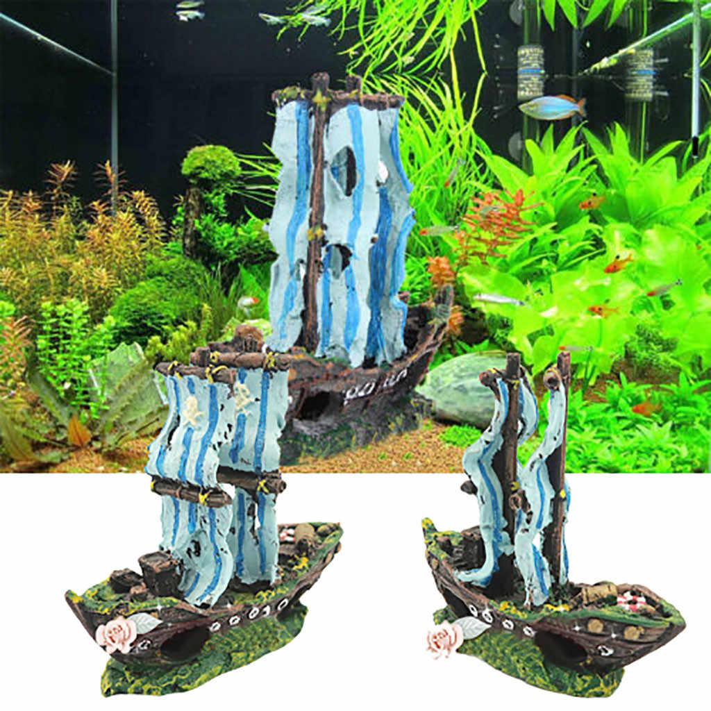 水族館の水槽造園アクセサリー樹脂築山新絶妙な風景海賊船難破船の装飾 аквариума T5