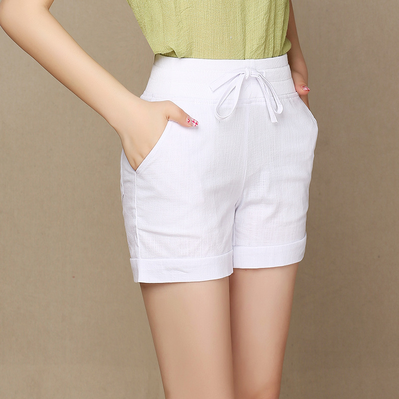 Summer Cotton Linen Shorts Women Comfortable Wide Leg Shorts Elastic Waist Large Size 5XL Loose White Black Trousers Female