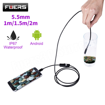 FUERS 2m 1.5m 1m Mini 5.5mm Lens Snake USB Endoscope Camera Waterproof Soft Borescope Car Inspection Camera for Android Phone PC 7mm lens android otg usb endoscope camera 2m smart android phone usb borescope inspection snake tube camera 6led