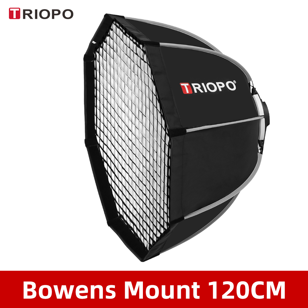 Triopo K120 120cm Photo Portabe Bowens Mount Octagon Umbrella Softbox + Honeycomb Grid Outdoor Soft Box for Studio Strobe