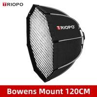 Triopo-Softbox K120 para estudio, paraguas octagonal con montaje Bowens para foto, 120cm, con rejilla de panal, para exteriores
