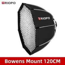 Triopo Softbox K120 para estudio, paraguas octagonal con montaje Bowens para foto, 120cm, con rejilla de panal, para exteriores
