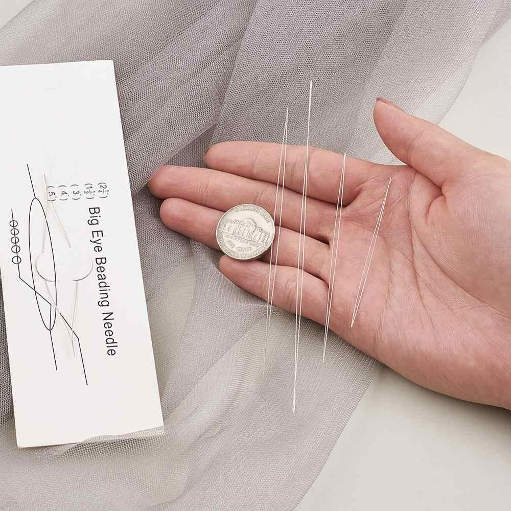 10 unids/set agujas para adornos de cuentas de acero inoxidable de gran ojo 57 ~ 125x0,3mm, Color de acero inoxidable F50