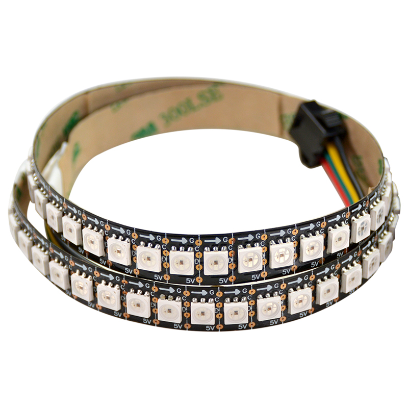 1M 144LEDs/m HD107S RGB <font><b>LED</b></font> Strip Digital Pixel Light <font><b>5050</b></font> SMD Addressable Flexible Tape Ambilight <font><b>5V</b></font> White PCB Non-Waterproof image