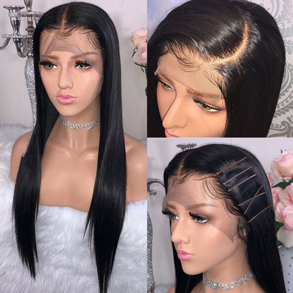 250 Straight Lace Front Human Hair Wigs With Elastic Band Brazilian Remy 13 4 Transparent Lace Human Hair Wigs Pre Plucked Weave On Wigs Lace Fronts