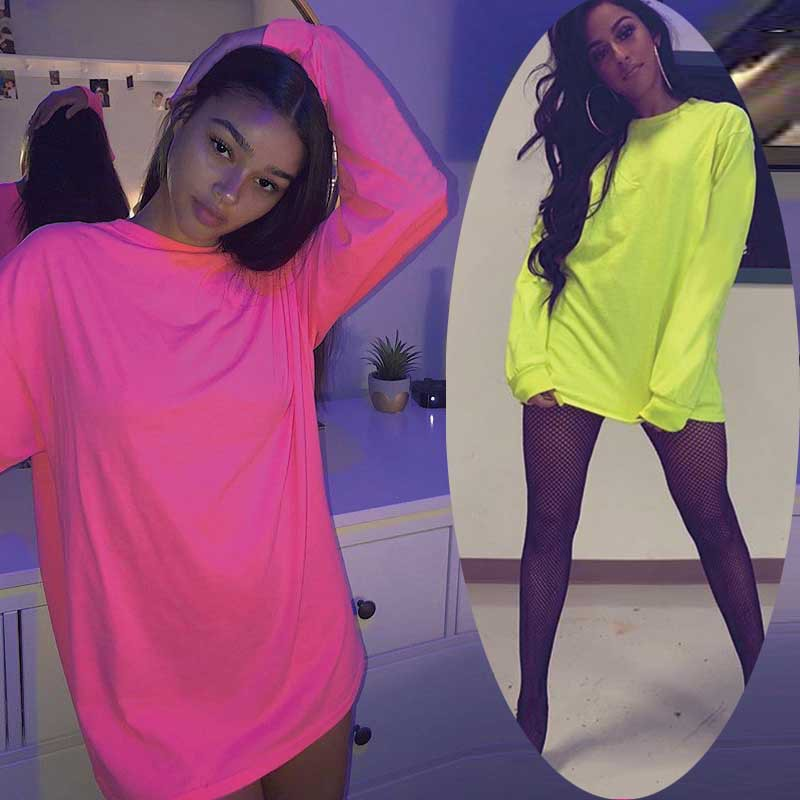 BKLD Women Hoodies Long Sleeve Casual Sweatshirt Pullovers 2019 Autumn Long Women Hoodie Harajuku Neon Green Sweatshirts Women