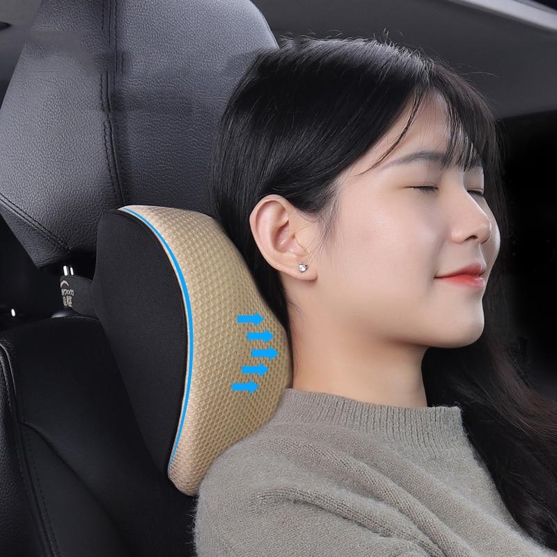 Assento de carro cabeça pescoço resto massagem travesseiro auto respirável tecido + memória esponja encosto cabeça veicular travesseiro assento acessórios