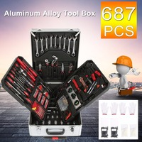 New 687 PCS Professional Tool Kit Tool Trolley Set With Aluminum Alloy Carrying Box Precision Garage Mobile Workshop Toolbox