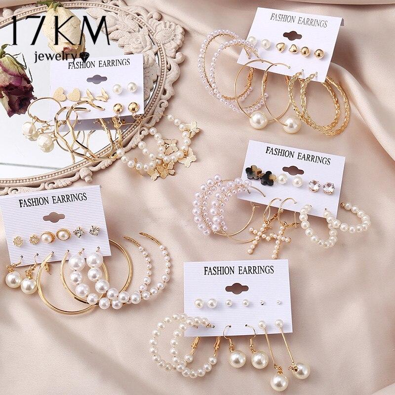 17KM Vintage Pearl Earrings For Women Big Gold Cross Set of Earrings Long Tassel Butterfly Dangle Drop Earrings 2021 Jewelry