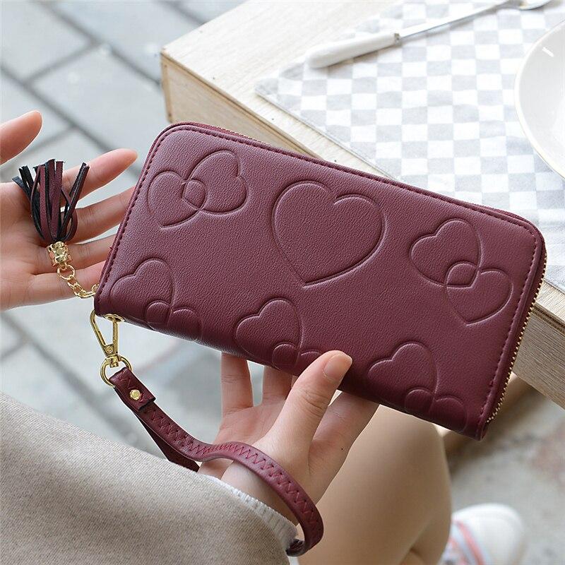 Hot Sale Purses Women Bank/ID/Credit Card Holder Wallet Women Red/black/brown/blue Ladies Wallet Zipper Cellphone Bags for Women