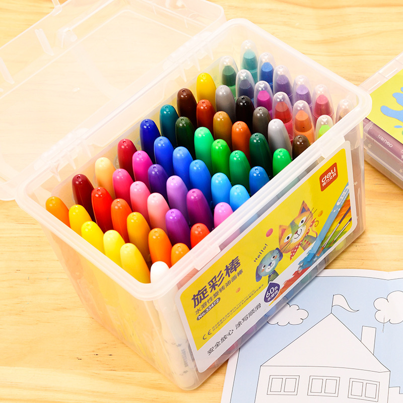 Детский рисунок 12/24/36/48/60 цветов, безопасный нетоксичный моющийся вращающийся карандаш для рисования граффити «сделай сам»