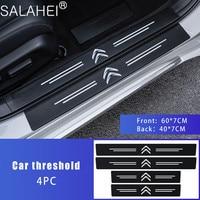 4 Uds coche Placa de alféizar de puerta Protector para Citroen C2 C3 C4 C5 C1 Elysee Berling Xsara Picasso Saxo Cactus DS3 DS4 DS6 umbral