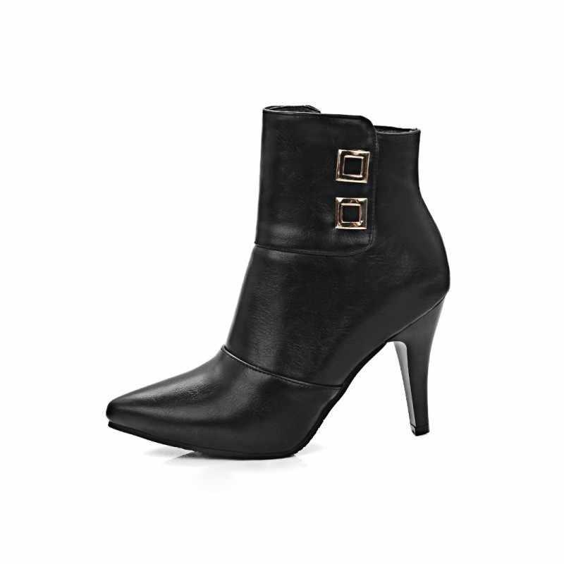 VINTAGE สิทธิบัตรหนังซิปด้านข้างรถจักรยานยนต์แฟชั่นรองเท้าสตรีฤดูใบไม้ร่วงชี้ Toe Super High Stiletto รองเท้าส้นสูงข้อเท้ารองเท้า Femme