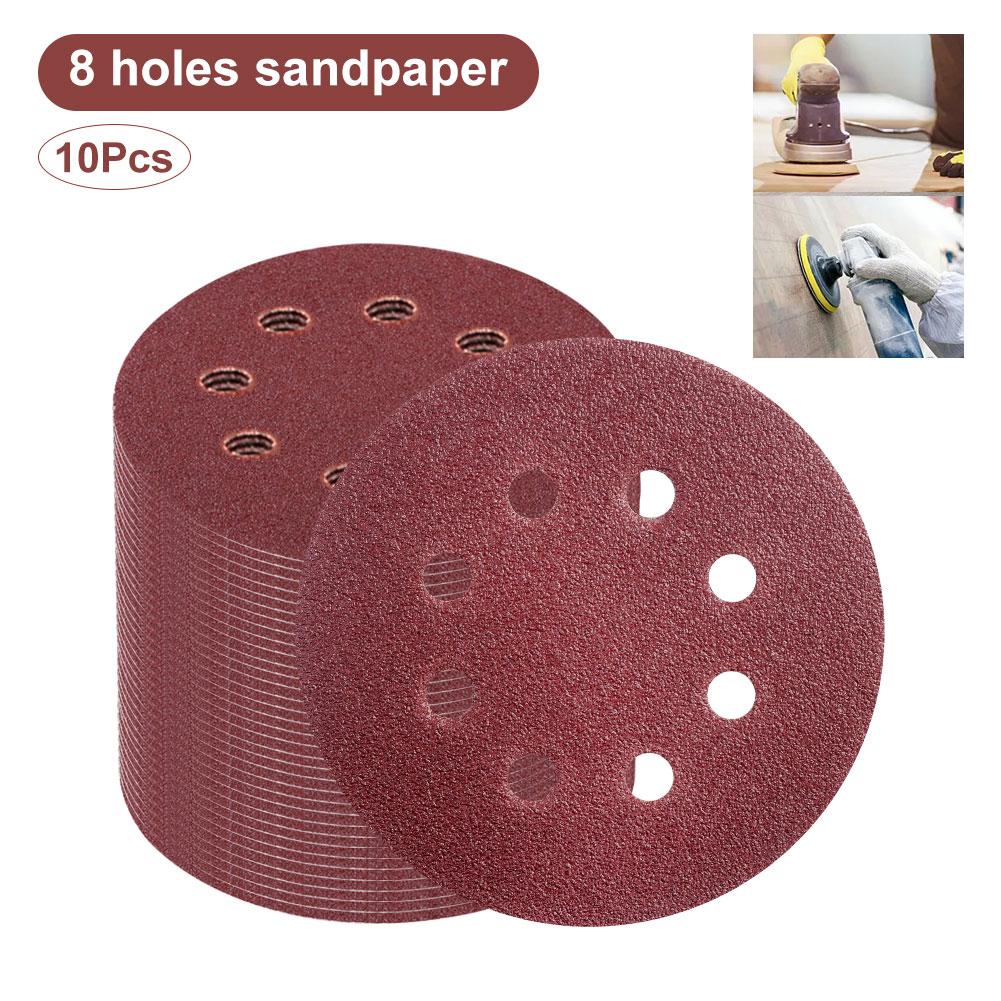 30Pcs 125mm 5/'/' 60 120 240 Grit Sand Discs Sanding Paper Orbital Sander Pad Set