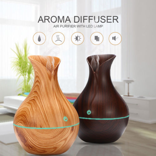 300ML Air Humidifier Essential Oil Diffuser wood grain Aromatherapy diffusers Aroma purifier MistMaker led light for Home 2