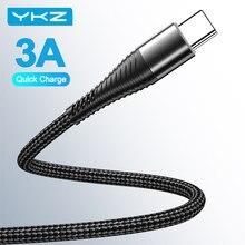 YKZ USB Typ C Kabel 3A Schnelle Ladegerät Kabel Typ-C USB C Daten Lade Handy Kabel für samsung S21 Xiaomi Huawei Oneplus