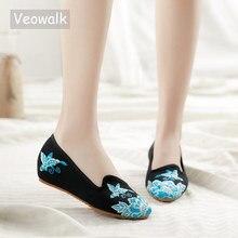 Veowalk أشار تو أحذية النساء الشقق الأزهار التطريز مريحة القديمة بكين اليدوية الباليه Sapato Feminino