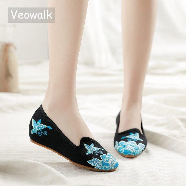 Veowalk מחודדת הבוהן נשים נעלי דירות פרחוני רקמת נוח ישן פקין בעבודת יד בלרינות Sapato Feminino