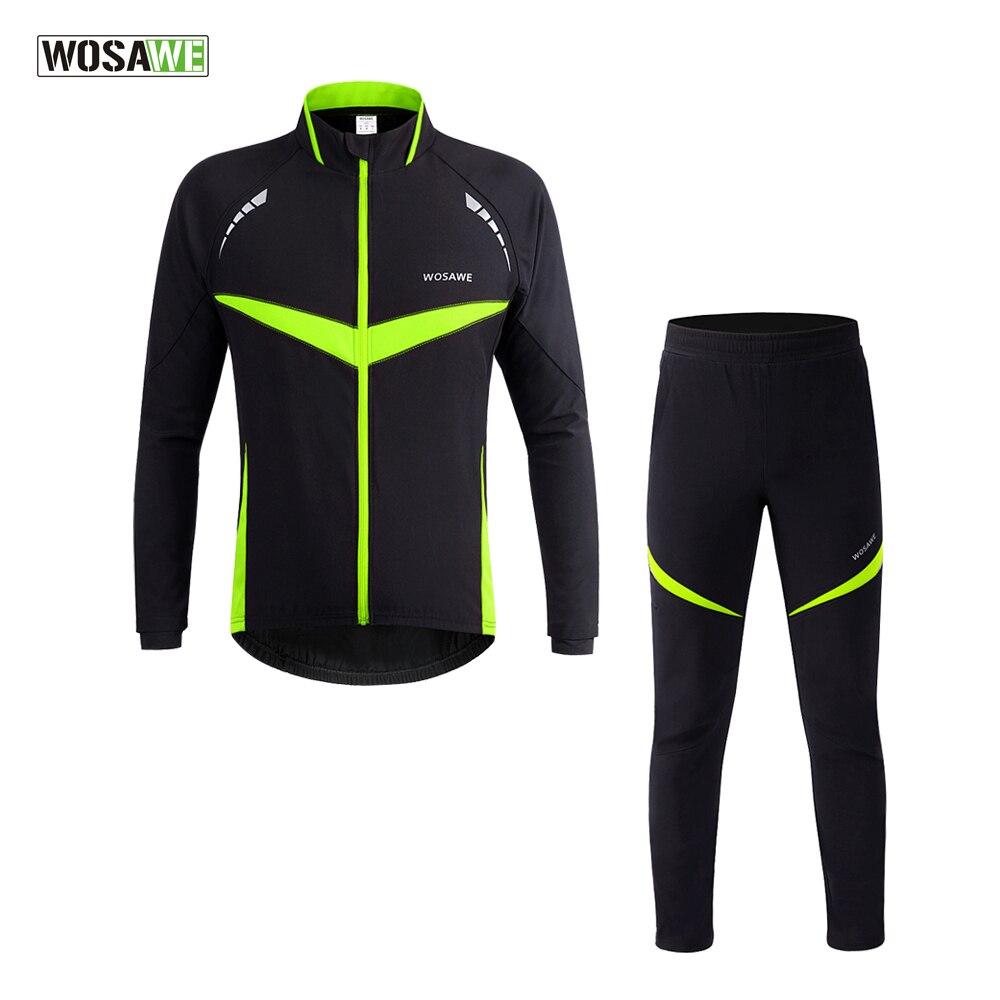 WOSAWE Winter Thermal Cycling Jacket Set Reflective MTB Bike Jerseys Clothes Windproof Waterproof Coat Suits Cycling Clothing