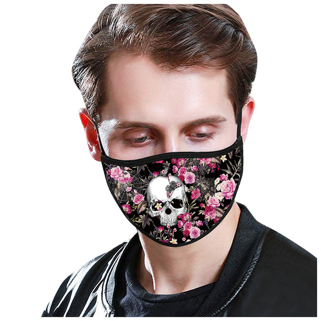Skull Pattern Cotton Masks Festive Party mask Washable Keep Warm Dust Proof Flu Mouth-muffle Respirator Mask women men masque 2