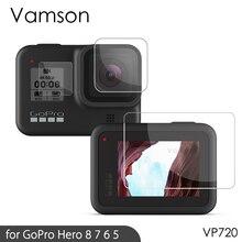 Protetor de tela vamson para câmeras, acessório preto de proteção para go pro hero7 vp710g case de filme