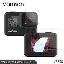 Vamson Protector de pantalla para GoPro Hero 8, Protector de pantalla negro para Go pro Hero7, accesorios para lente de cámara, funda de película protectora VP710G